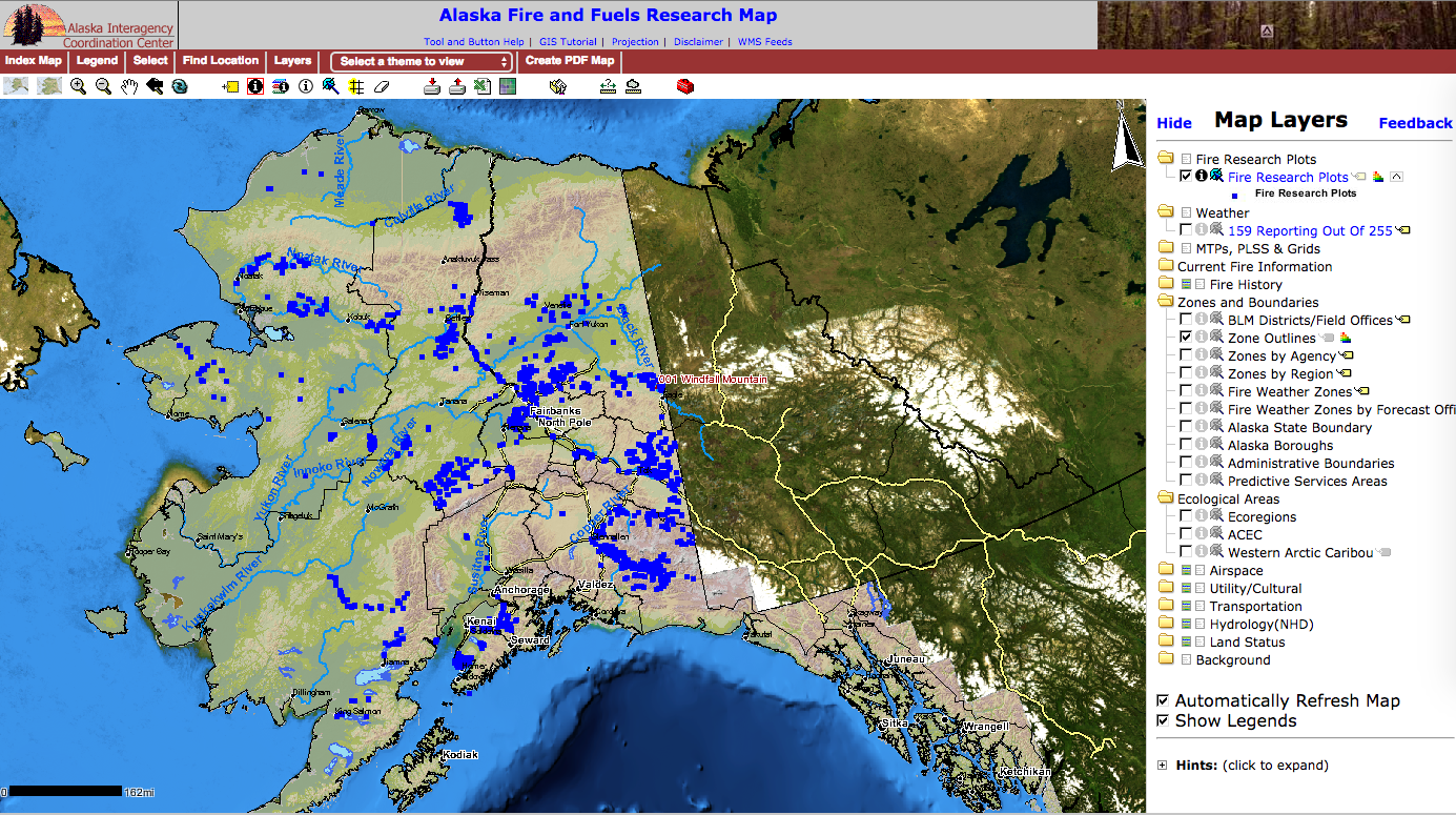 Screenshot of the Alaska Fire and Fuels Research Map