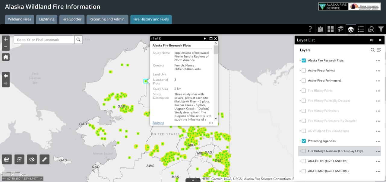 AK research plots map