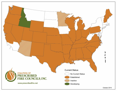 Coalition of Prescribed Fire Councils map graphic